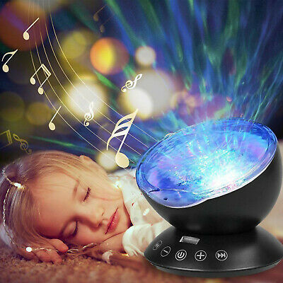 Relax Ocean Wave Music LED Night Light Projector Remote Lamp Baby Sleep Gift +RC