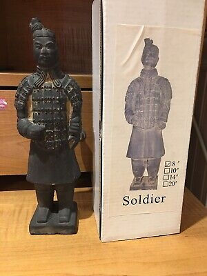 Chinese Terracotta Army Clay Warrior Soldier Statue Figurine, 8""