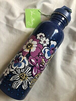 Vera Bradley 25 oz. Water Bottle African Violet Stainless Steel Purple Blue NWT