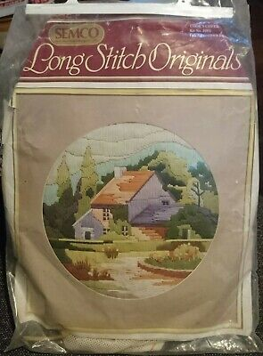 SEMCO LONG STITCH KIT 'COOK'S COTTAGE' - 29cm Round - STARTED