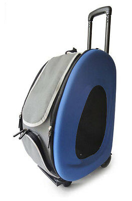 Stylish Blue Cat Pet Carrier Bag On Wheels Pram Trolley Foldable Design
