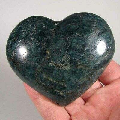 "3.6"" Green APATITE HEART Polished Palm Stone Healing Reiki - Madagascar"