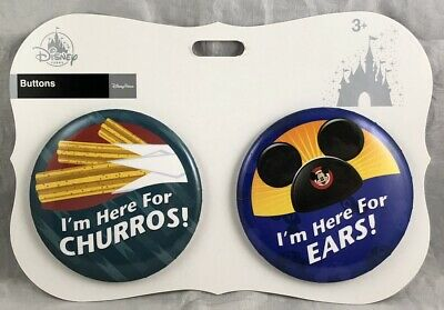 Disney Parks WDW I'm Here For Churros Ears Buttons Pack of 2 Mickey Mouse MK NEW