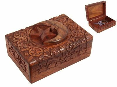 STAR AND MOON CARVED WOODEN HINGED BOX 18CM x 13CM