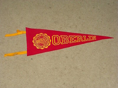 """1950's Oberlin College 23"""" soft felt college pennant"""