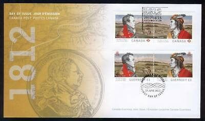 Joint Issue CANADA GUERNSEY 1812 WAR, FDC 2554-2555 First Day Cover Cover FDC