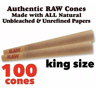 RAW Classic King Size Pre-Rolled Cones with Filter ( 100 packs) 100%AUTHENTIC
