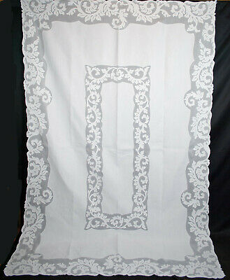 "Antique Organdy Linen Applique Tablecloth Whitework Hand Stitched 102"" x 66-1/2"""