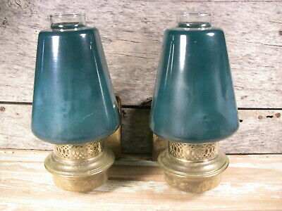 Vintage Art Deco Wall Sconces Brass Electric Oil Lanterns Green Shades 1940s-50s