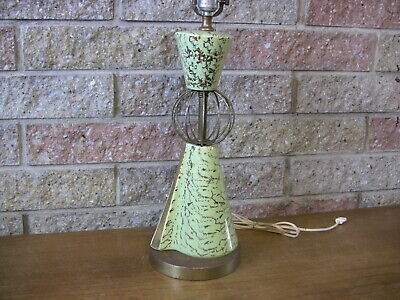 Vintage Mid Century Pottery Atomic Table Lamp Space Age Asymmetric Base 1950s
