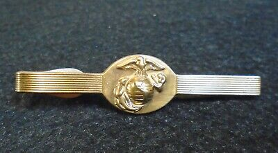 Made in USA USMC  Marine Corps Tie Clasp Tie Bar Officer  24K Gold Plated