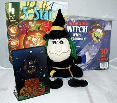 Halloween Set/Witch,Dracula Plate,Stained Glass,Witch Streamer,Carving Kit