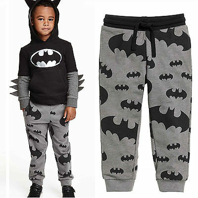 Kids Girls Boys Batman Print Harem Leggings Pants Bottoms Trousers Sport Joggers