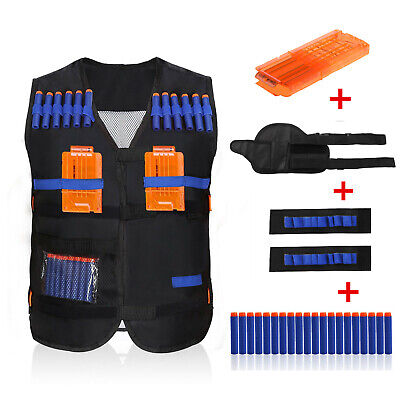 Tactical Vest Jacket + Refill Bullets Clip Cartridge Kit For Nerf Toy Guns Elite