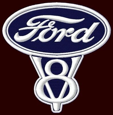 "FORD V8 EMBROIDERED PATCH ~4-1/4"" x 4-1/4"" PICKUP RALLY F150 MUSTANG RACING F250"