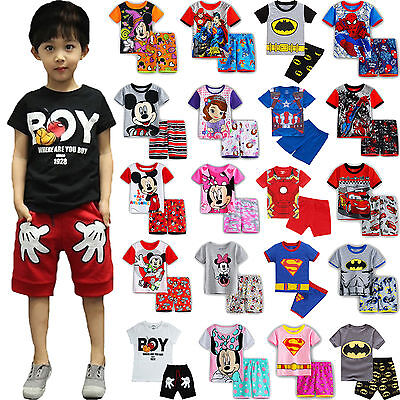 Kids Girls Boys Cartoon Shorts Pyjamas T-Shirt Short Sleeve Nightwear 2Pcs Set