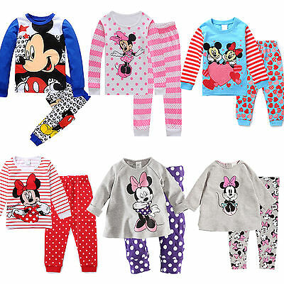 Kids Girls Baby Mickey Minnie Mouse Long Sleepwear Outfits Pants Pyjamas Pjs Set