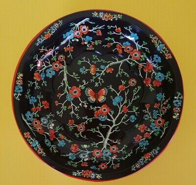 Daher Decorated Ware 1971 Floral butterfly Metal Bowl Tray Tin England Vintage