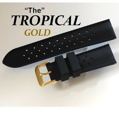 Gold Buckle Retro Tropical Divers Rubber Watch Strap, Fits Seiko, Omega, Citizen