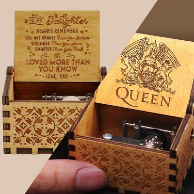 Music Box Wooden Engraved Queen Love Mom Dad Kids Gift Christmas Birthday Party