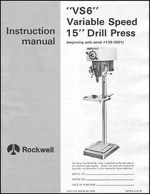 Rockwell VS6 Variable Speed 15 Inch Drill Press Manual