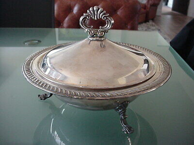 FB Rogers Silver Co 1883 Casserole Serving Dish Bowl 3 Footed Turine w/ Lid 1158