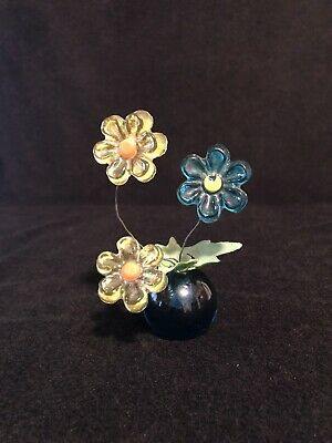 Vintage Design Gifts Mid Century Blue & Yellow Lucite Acrylic Flower Figurine