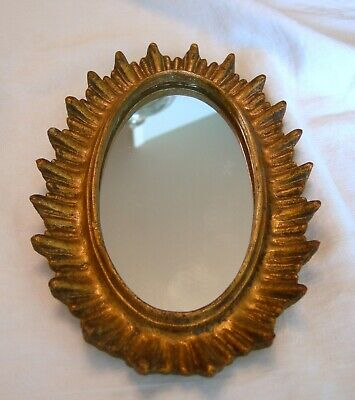 Antique Washed Gold ITALIAN FLORENTINE STYLE OVAL WALL MIRROR