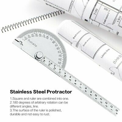 Stainless Steel 180 degree Protractor Angle Finder Arm Rotary Measuring Ruler XB