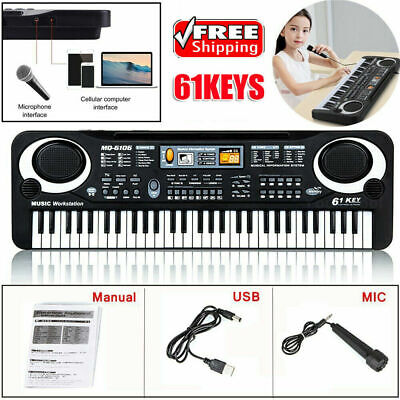 61 Keys Digital Electric Piano Music Electronic Keyboard Organ  Microphone PPE