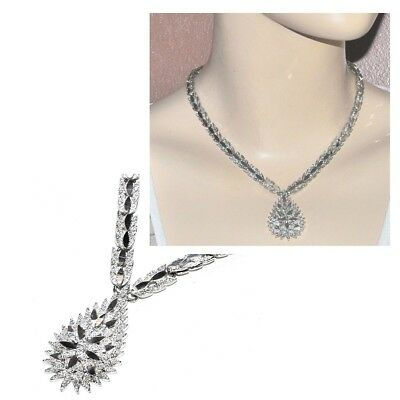 Beautiful Necklace Antique Silver Plated Effect Diamond Mesh Jewel