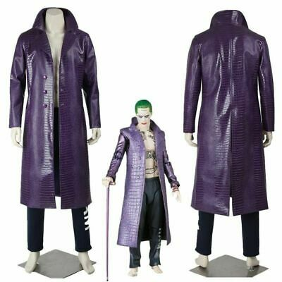 Men's Jared Leto Joker Costume Purple Coat Pants  Suicide Squad Cosplay Outfits