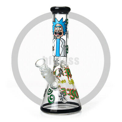 "Rick and Morty Glass Water Pipe 10"" Night-luminous Glass Bong with Downstem Bowl"