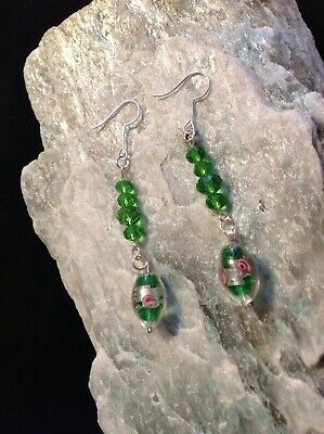 Murano Green/pink rose design style beaded silver plated hook earrings