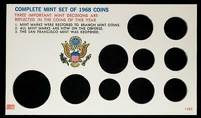 """Complete Mint Set of 10 1968 Coins 3 1/2""""x 6"""" Collectors Frame-Up Card NOS"""