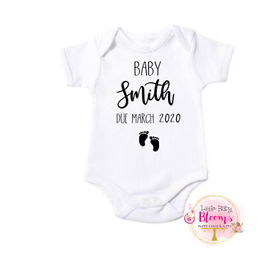 Personalised Pregnancy Announcement Baby Bodysuit, Custom Baby Bodysuit