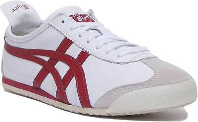 Onitsuka Tiger Mexico 66 Womens Leather Trainers In White Red Size UK 3 - 8