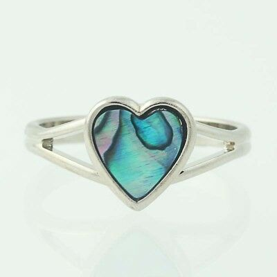 New Ariki Heart Ring Paua Shell Adjustable Size Silver Color In Box