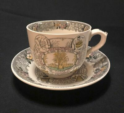 Aesthetic Era Large Adams Staffordshire Transferware Cup & Saucer Farmers Arms