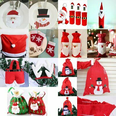 Christmas Decoration Bags Red Wine Tableware Cover Cute Santa Snowman Party Gift