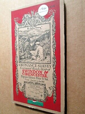 Ordnance Survey Contoured map No 104 Swindon & Cirencester cloth 1919 - VGC