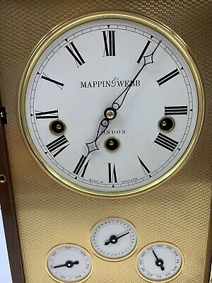 Mappin & Webb Westminster Chime Burled Wood Mantle Shelf Calendar Clock London
