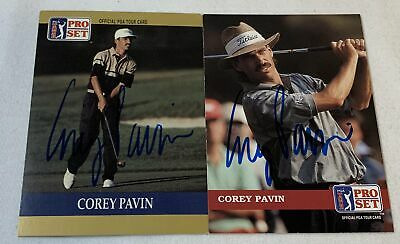 lot of 2 hand signed autographed PGA cards ~ COREY PAVIN