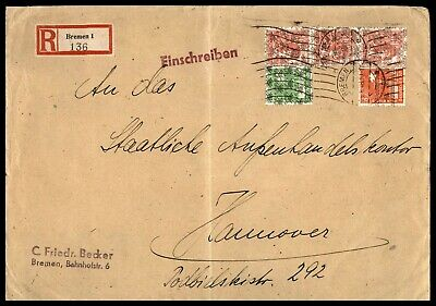 Germany Bremen  August 25 1948 Registered To Hannover Arrival