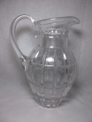 Vtg Pressed Glass Water Pitcher Geometric Panel Design 10.75""