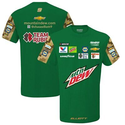 Chase Elliott Mountain Dew 2019 Sublimated Pit Crew T-Shirt - Green/Camo