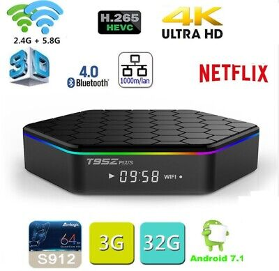 T95Z PLUS Smart TV Box S912 Octa Core Dual WiFi 3G+32G Media Player Android 7.1