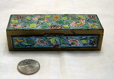 Antique Heavy CHINESE CLOISONNE ENAMEL BRASS STAMP BOX  Hinged