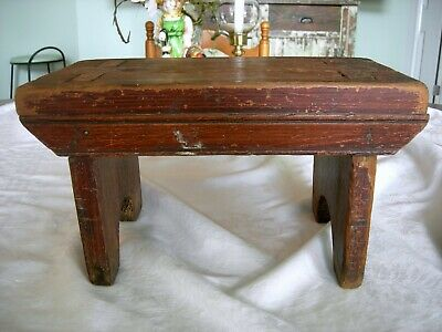 Antique PRIMITIVE FOOT STOOL Old Green Paint Decoration Fabulous Tenon Joinery