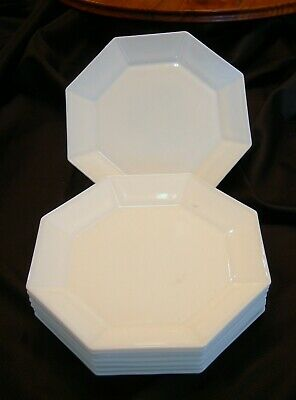 10 ARCOPAL GLASS OCTAGONAL WHITE BUTTER PLATES Novoctine Pattern FRENCH
